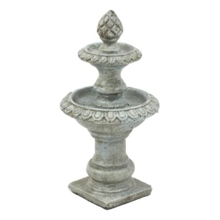 Ebros Enchanted Fairy Garden Miniature 2 Tier Artichoke Finial Water Fountain Figurine 5