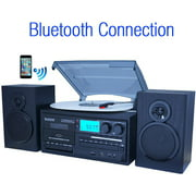 Boytone BT-28SPB, Bluetooth Record Player Turntable with AM/FM Radio, Cassette Player, CD Player