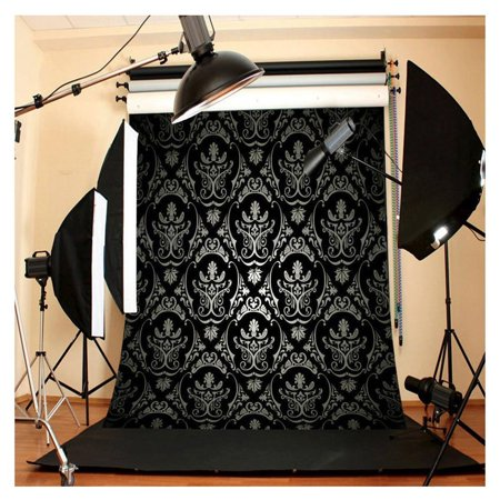HelloDecor Polyster 5x7ft Live Black Printing Maple Leaf Studio Photo Photography Background Studio Backdrop Props best for Personal Photo, Wall Decor, Baby, Children, Kids