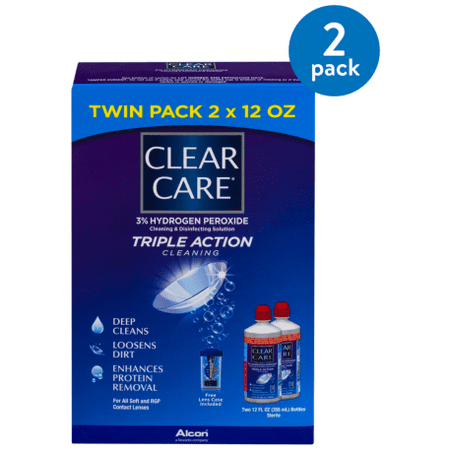 (2 Pack) Clear Care Triple Action Cleaning Twin Pack, 12.0 FL OZ