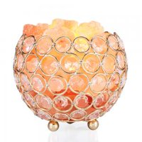 Salt Light, Bingkers Natural Himalayan Crystal Salt Lamp with Metal Base, Dimmable Controller, Dimmer Switch, UL-Listed Cord Bowl