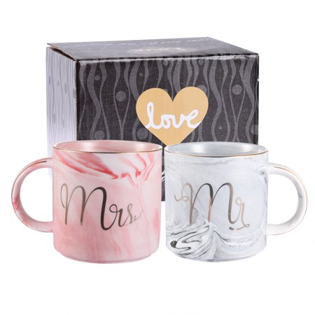 Uarter 2 Pcs - 400ML Marbling Mugs Ceramic Coffee Cups Mr Mrs Coffee Mugs with Golden Patterns, Perfect for Coffee, Tea and Water