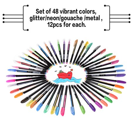 48 Colors Gel Pens Includes Glitter/ Neon/ Gouache/ Metal Pens Marking Highlighting Drawing for Students Coloring Books