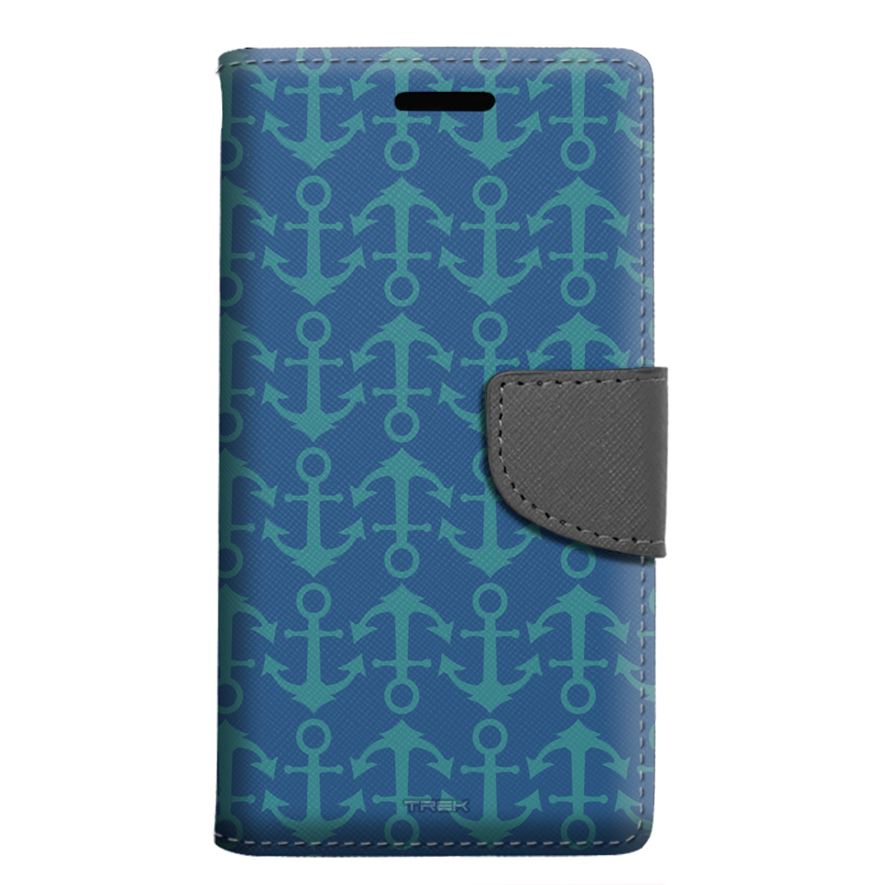 Samsung Galaxy On5 Wallet Case - Anchor Pattern on Black Case