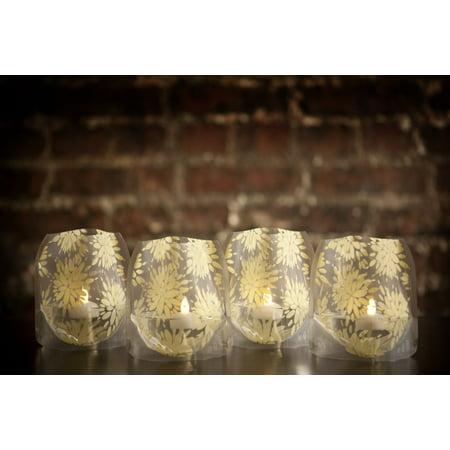 Lila Ivory Lumizu Luminaries Four Pack - Floating LED Candles with Batteries Inlcuded - Luminary Lanterns - Wedding, Party, Patio - Wedding Luminaries