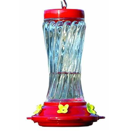 Swirl Glass Hummingbird Feeder 16 Ounce Red NA35225