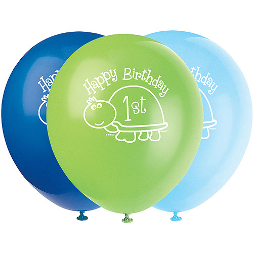 "12"" First Birthday Turtle Balloons, 8pk"