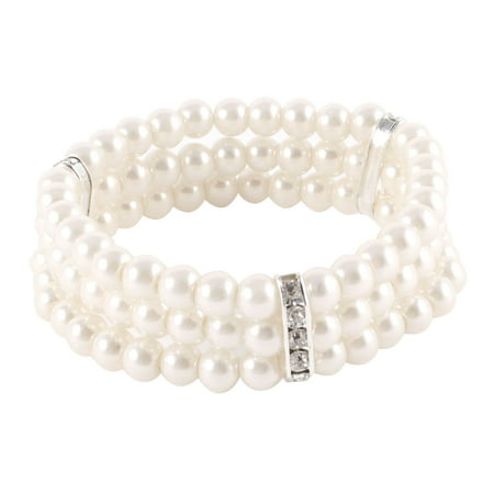 Women 3 Rows Faux Pearl Rhinestones Detail Stretchy Wrist Bracelet Off White