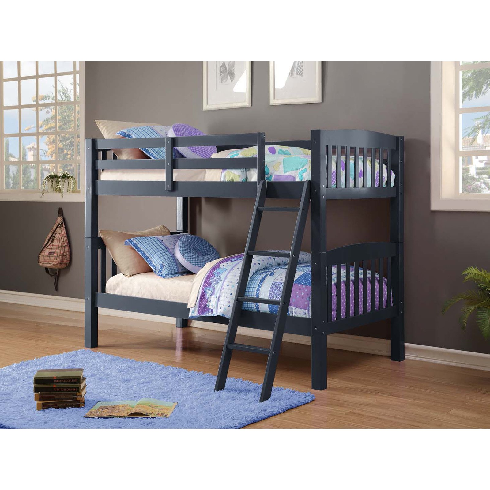 Donco Kids Twin Over Twin Navy Mission Bunk Bed