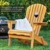 Best Choice Products Folding Wood Adirondack Chair Accent Furniture for Yard, Patio, Garden w/ Natural Finish - Brown