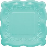 Pack of 48 Teal Green Linen Premium Disposable Paper Square Party Lunch Plates 7.2""