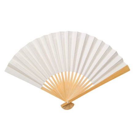 Handheld Folding Paper Fan (9-Inch, Wedding Beige) - In the Style of Chinese, Japanese, Spanish Fans - For Personal Use, Weddings, and - Hand Held Paper Fans