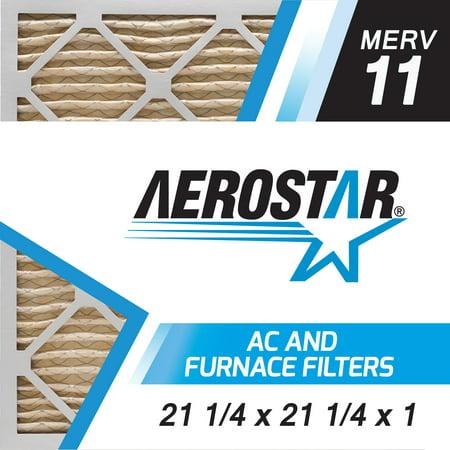 Aerostar 21 1/4x21 1/4x1 MERV  11,  Air Filter, 21 1/4 x 21 1/4 x 1, Box of 4 (Furnace Filters 21 X 21)