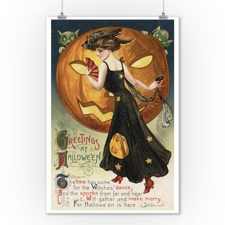 Halloween Greeting - Witch Dancing and Pumpkin - Vintage Holiday Art (9x12 Art Print, Wall Decor Travel Poster)