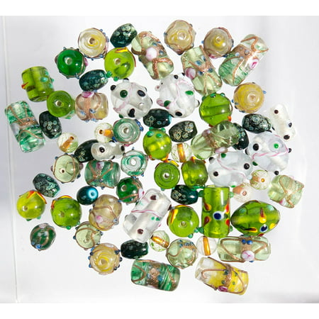 Glass Beads for Jewelry Making for Adults 60-80 Pieces Lampwork Murano Loose Beads for DIY and Fashion Designs – Wholesale Jewelry Craft Supplies (Green - 5 - Lampwork Glass Beads