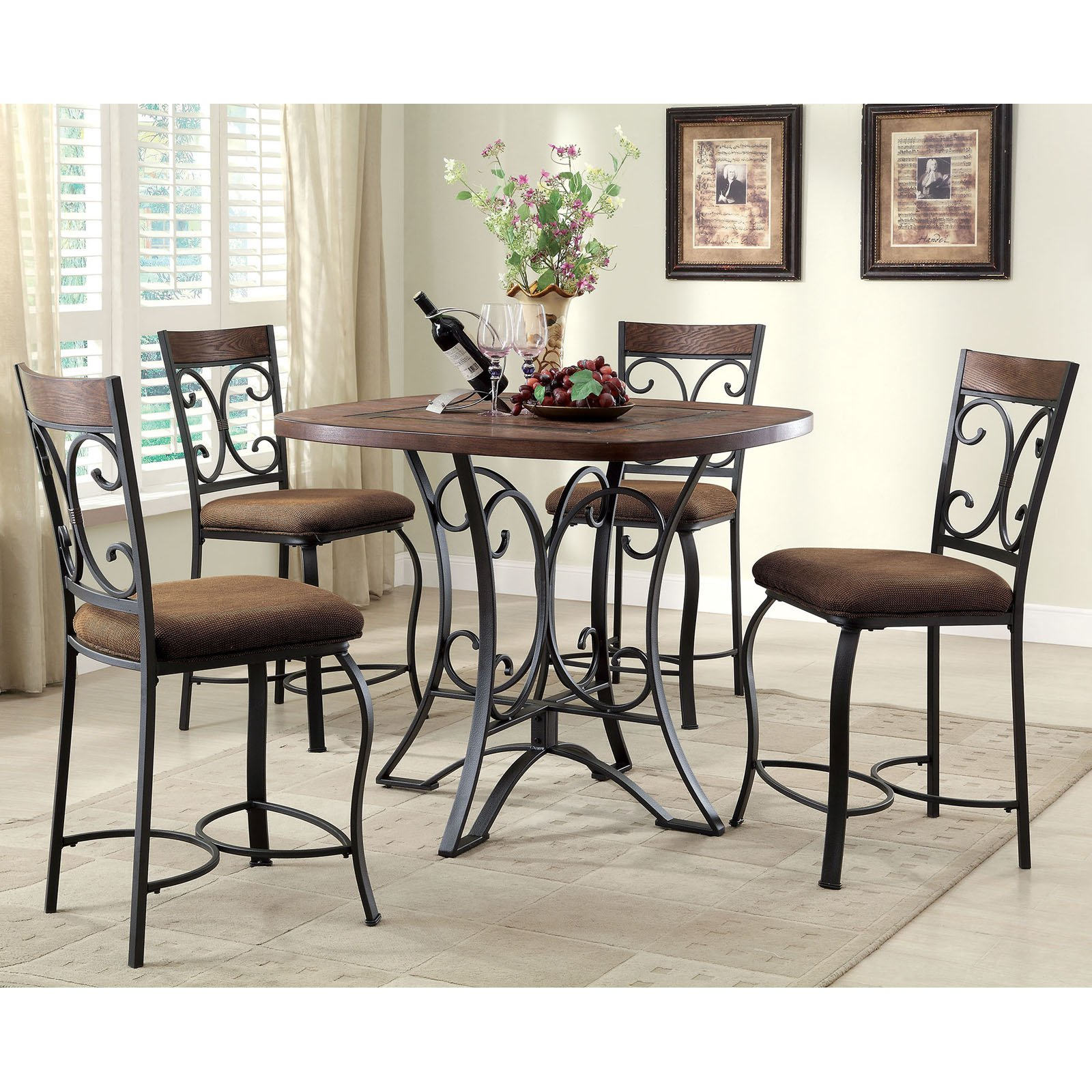 acme furniture hakesa 5 piece round counter height dining table set