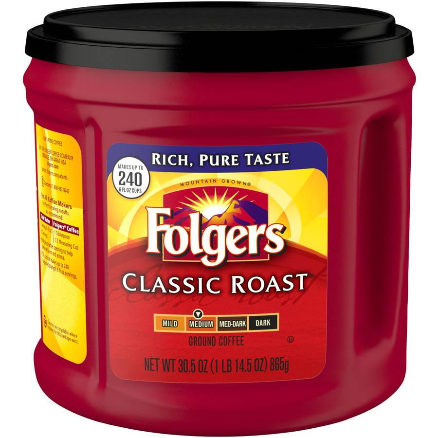 Folgers Classic Roast Medium Ground Coffee, 30.5 oz