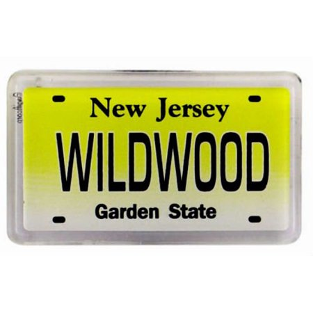 Small Acrylic Magnet - Wildwood New Jersey License Plate Small Fridge Acrylic Collector's Souvenir Magnet 2 inches X 1.25 inches