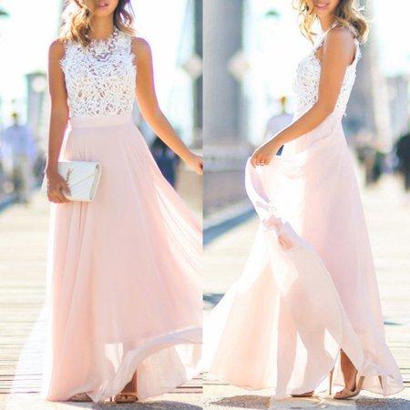 20c76e483af Pink Women Boho Chiffon Long Maxi Evening Party Dress Beach Dresses Sundress  - Walmart.com