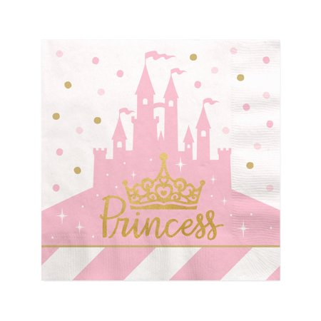 Little Princess Crown with Gold Foil - Pink and Gold Princess Baby Shower or Birthday Party Cocktail Beverage Napkins (1 (Baby Shower Cocktails)