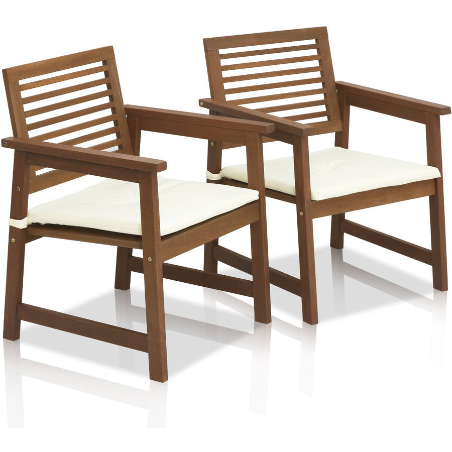 Furinno Tioman Teak Hardwood Outdoor Armchair with Cushion, Set of 2 by Furinno