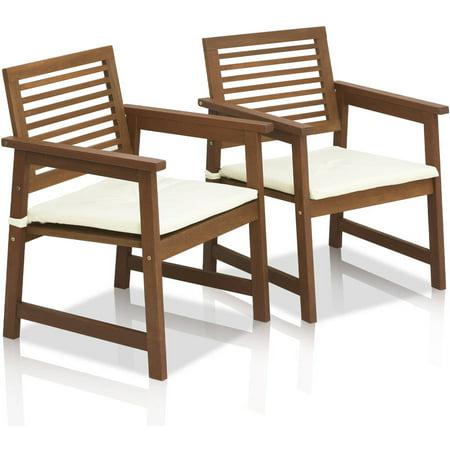 Furinno Tioman Teak Hardwood Outdoor Armchair with Cushion, Set of 2