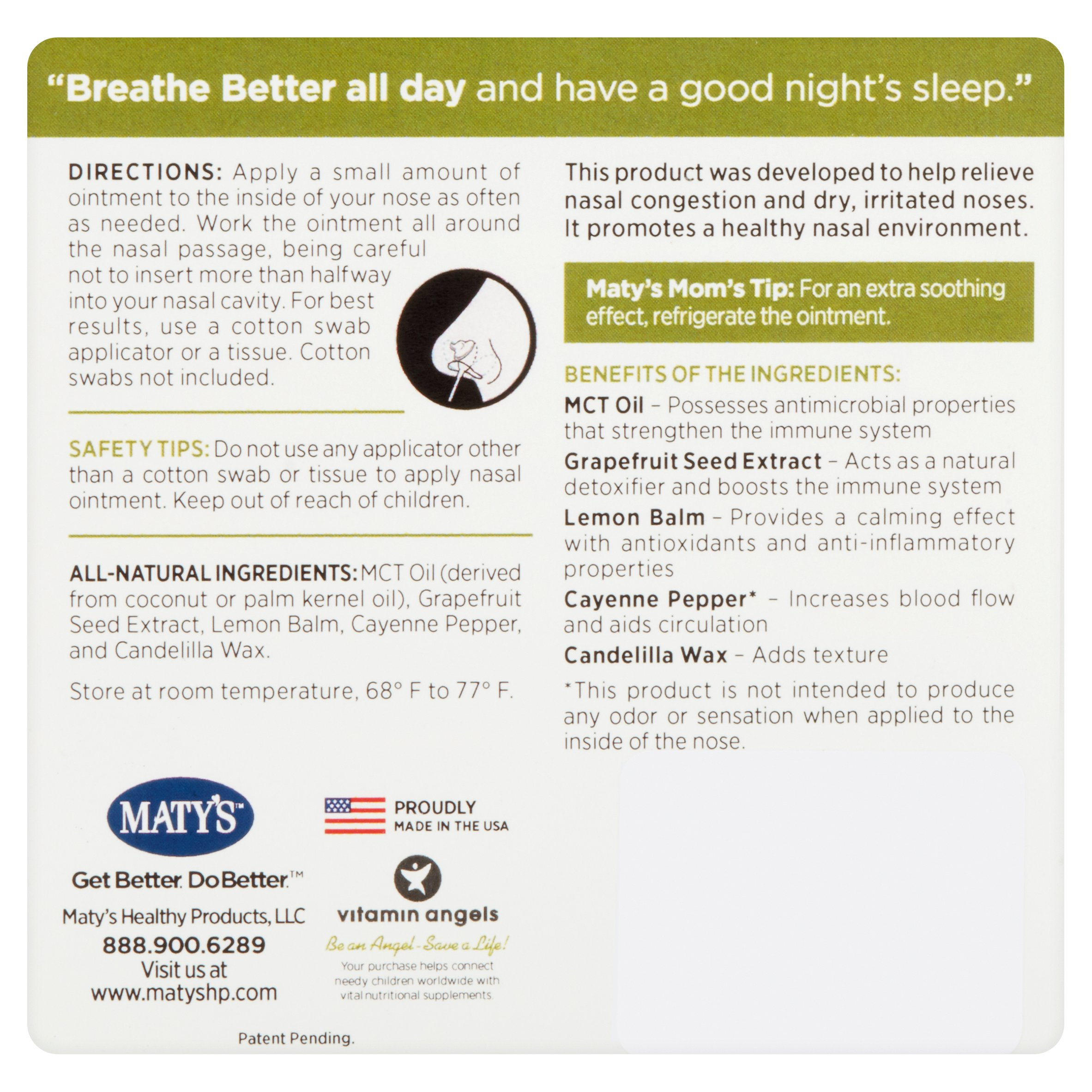Maty's Breath Better All Natural Nasal Ointment, 0 5 oz