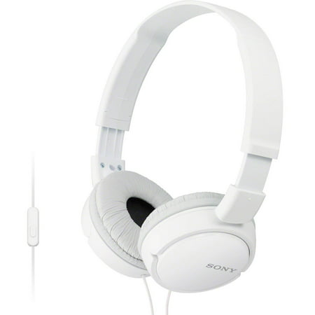 Sony MDR-ZX110AP Extra Bass Wired Headphones with Mic, Smartphone Headset for iPhone & Android with In-Line Remote & Microphone, Neodymium Magnets & 30mm Drivers, White