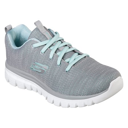 Women Skechers Graceful Twisted Fortune Gray-Mint 12614 GYMN with Memory Foam (Skechers Memory Foam Shoes Girls)