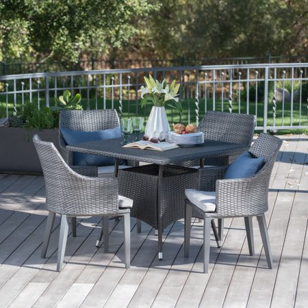 Hillsdale Outdoor 5 Piece Wicker Square Dining Set with Cushions, Grey ()