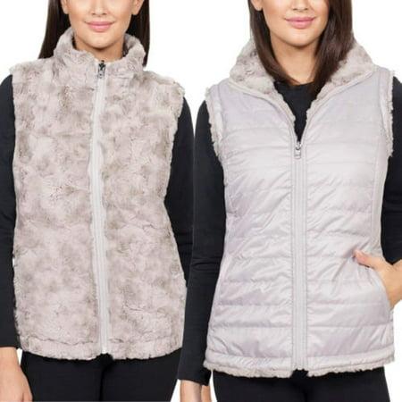 Nicole Miller Original Women's Vest Reversible Faux Fur