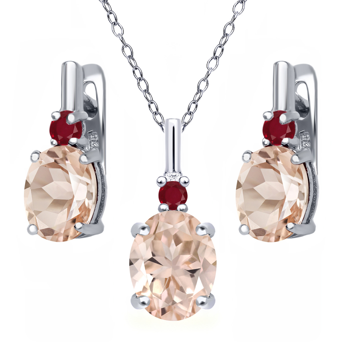 4.92 Ct Oval Peach Morganite Red Ruby 925 Sterling Silver Pendant Earrings Set by