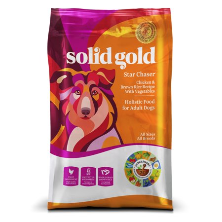 Solid Gold Chicken & Brown Rice with Vegetables Star Chaser Adult Dry Dog Food, 28.5 Lb 5 Star Dog Food