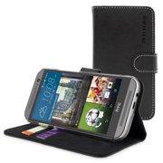 Snugg B00URY2J9E HTC One M9 Flip Case, Black Leather