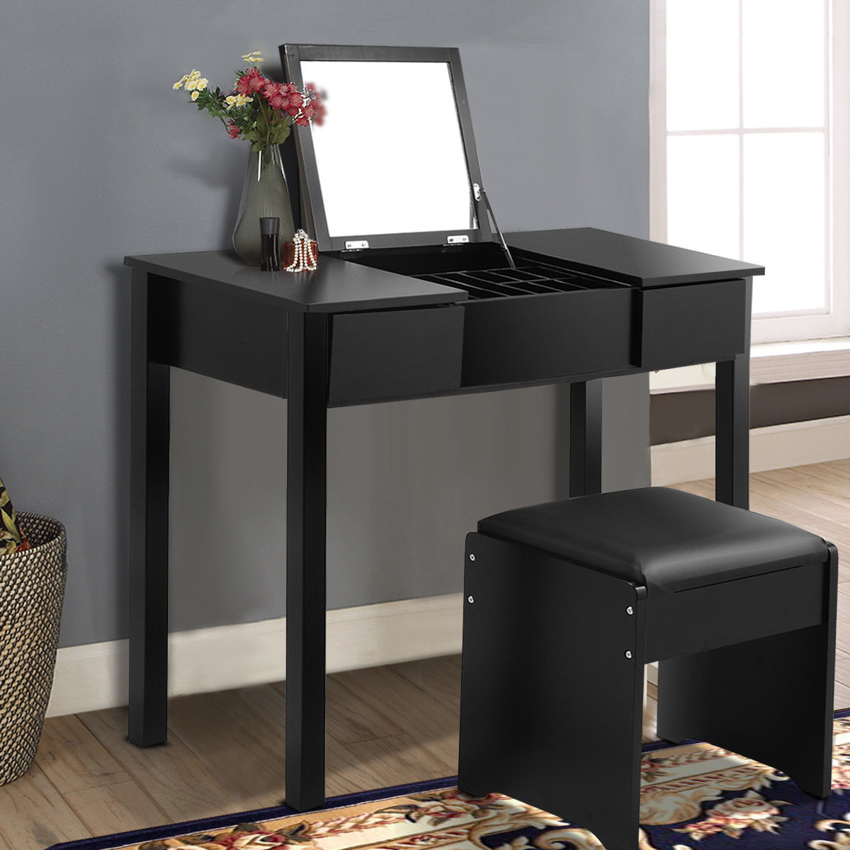 Costway Black Vanity Dressing Table Set Mirrored bathroom Furniture W/Stool &Storage Box