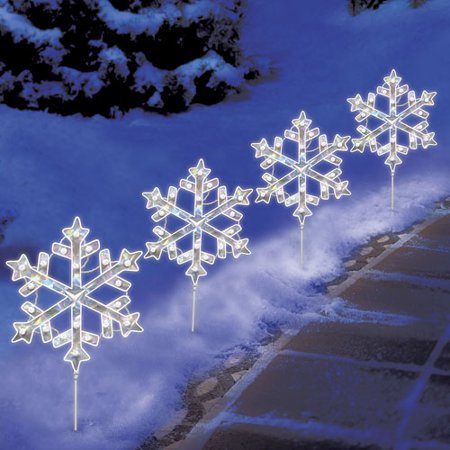 Seasonal snowflake pathway marker for Sidewalk christmas lights