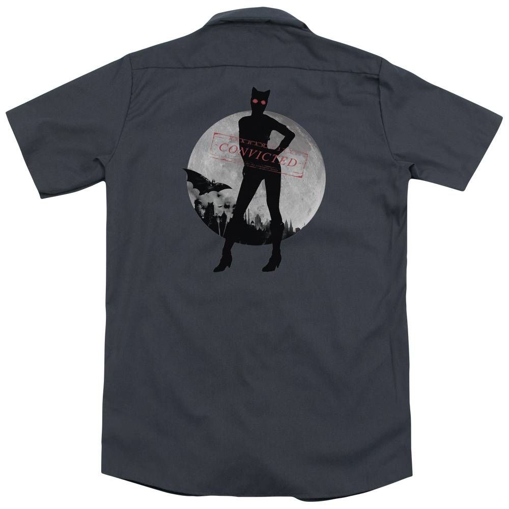 Arkham City Catwoman Convicted (Back Print) Mens Work Shirt