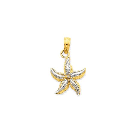 Gold Starfish Charm - 14K Yellow Gold Polished Starfish Charm Pendant - 19mm