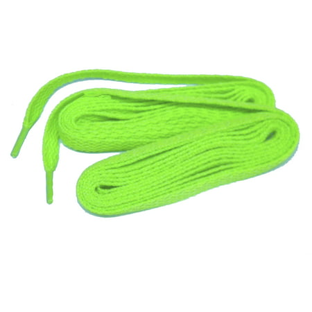 48 Inch 122 cm Neon Green professional proATHLETIC™ Flat 8mm sneaker shoelaces -(2 Pair - Lighted Shoelaces