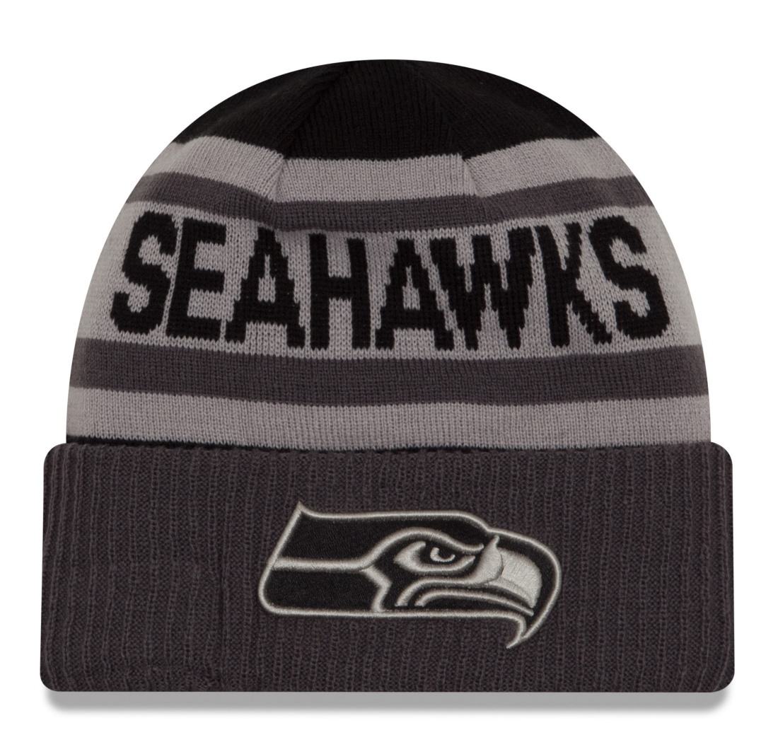 "Seattle Seahawks New Era NFL ""Biggest Fan Black 2.0"" Cuffed Knit Hat"