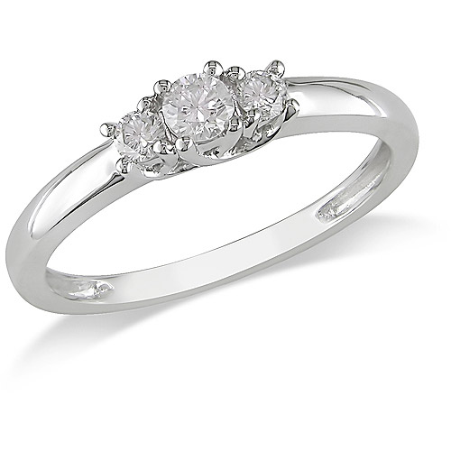 1/4 Carat T.W. Diamond Three-Stone Engagement Ring in 14kt White Gold, IGL Certified