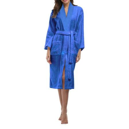 Skylinewears Women's 100% Terry Cotton Bathrobe Toweling Robe Blue - Gap Womens Robe