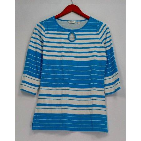 Liz Claiborne New York Top Sz XS 3/4 Sleeve Striped Tee Blue A262180