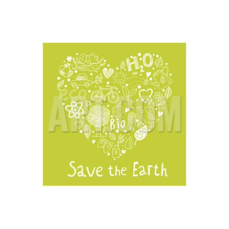 Save the Earth. Concept Ecology Wallpaper Made of Environment Symbols in Vector Print Wall Art By smilewithjul