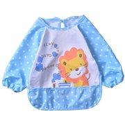 Cute Waterproof Long Sleeved Bib Baby Feeding Painting Clothes Apron