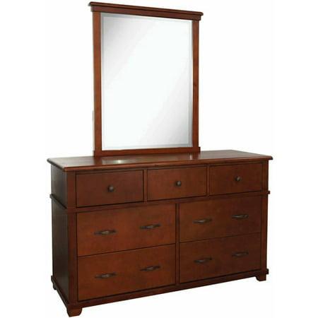 bolton furniture woodridge 7 drawer dresser and mirror set chestnut. Black Bedroom Furniture Sets. Home Design Ideas