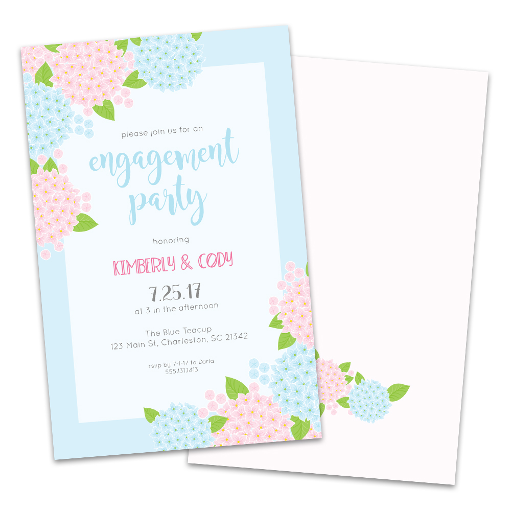 Personalized Floral Hydrangeas Engagement Party Invitations