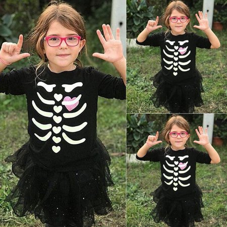 Toddler Halloween Cute Bone Pattern Kid Baby Girl Long Sleeve T-shirt Top Blouse - Top Baby Games Halloween