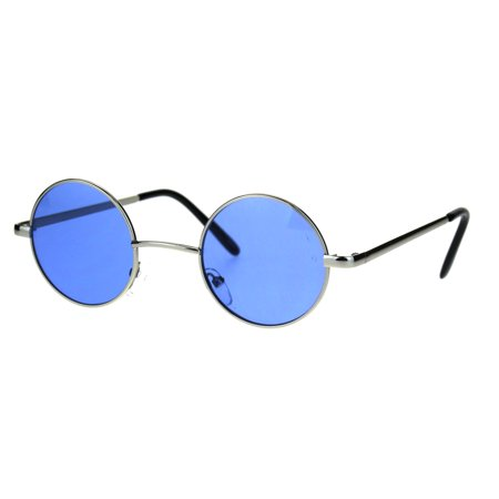 Hippie Groovy Color Lens Metal Rim Circle Lens Sunglasses Blue