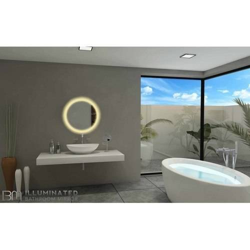 Round Mirror with LED Backlight, 6000K by Paris Mirror